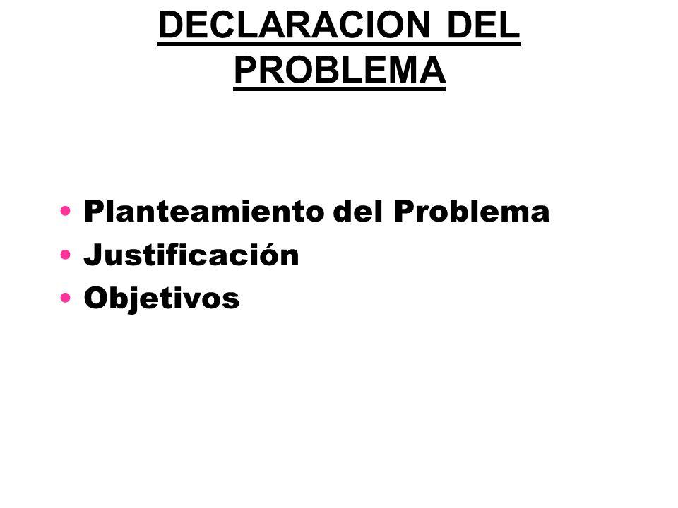 DECLARACION DEL PROBLEMA Planteamiento del Problema Justificación Objetivos