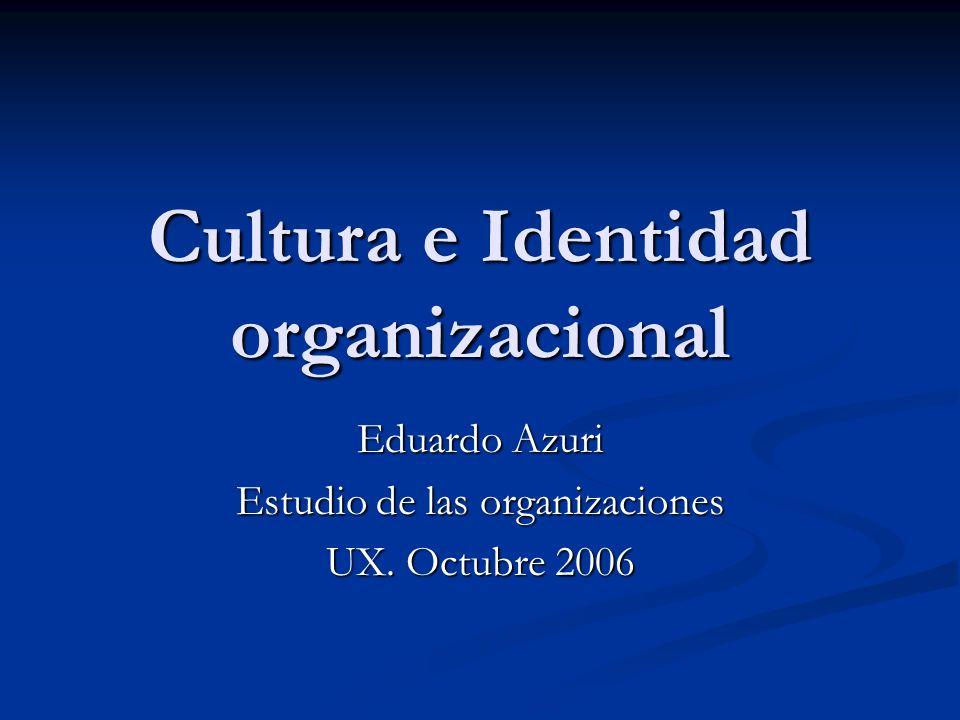 Cultura e Identidad organizacional Eduardo Azuri Estudio de las organizaciones UX. Octubre 2006