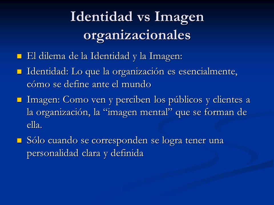Identidad vs Imagen organizacionales El dilema de la Identidad y la Imagen: El dilema de la Identidad y la Imagen: Identidad: Lo que la organización e
