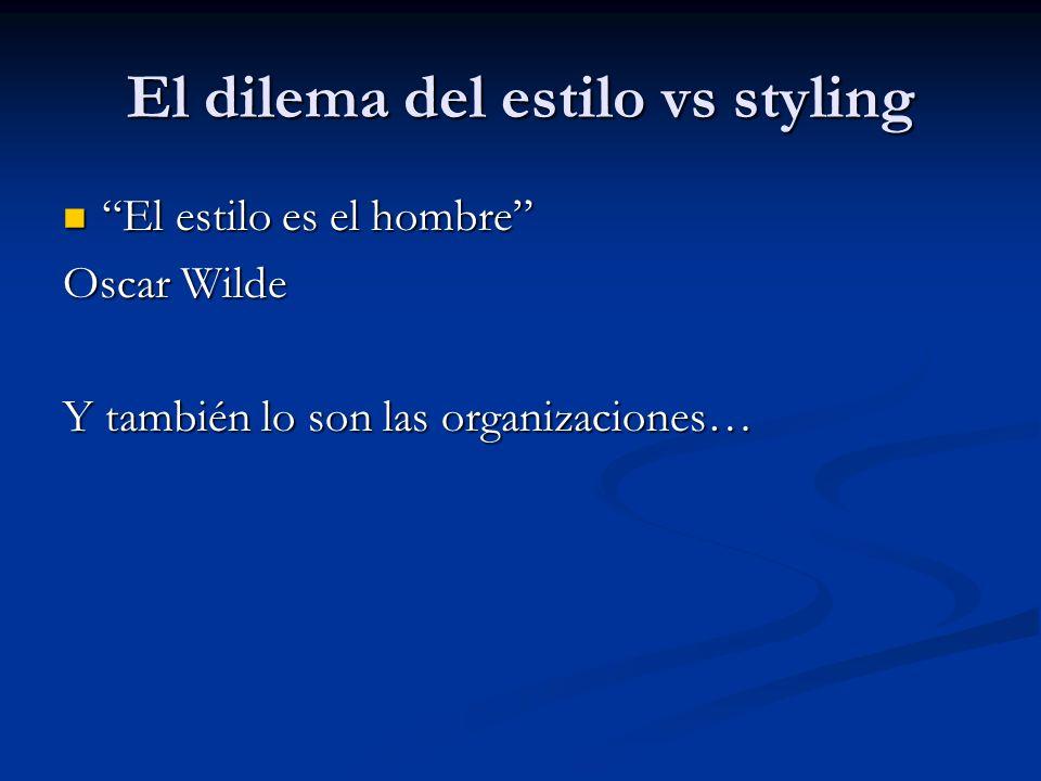 El dilema del estilo vs styling El estilo es el hombre El estilo es el hombre Oscar Wilde Y también lo son las organizaciones…