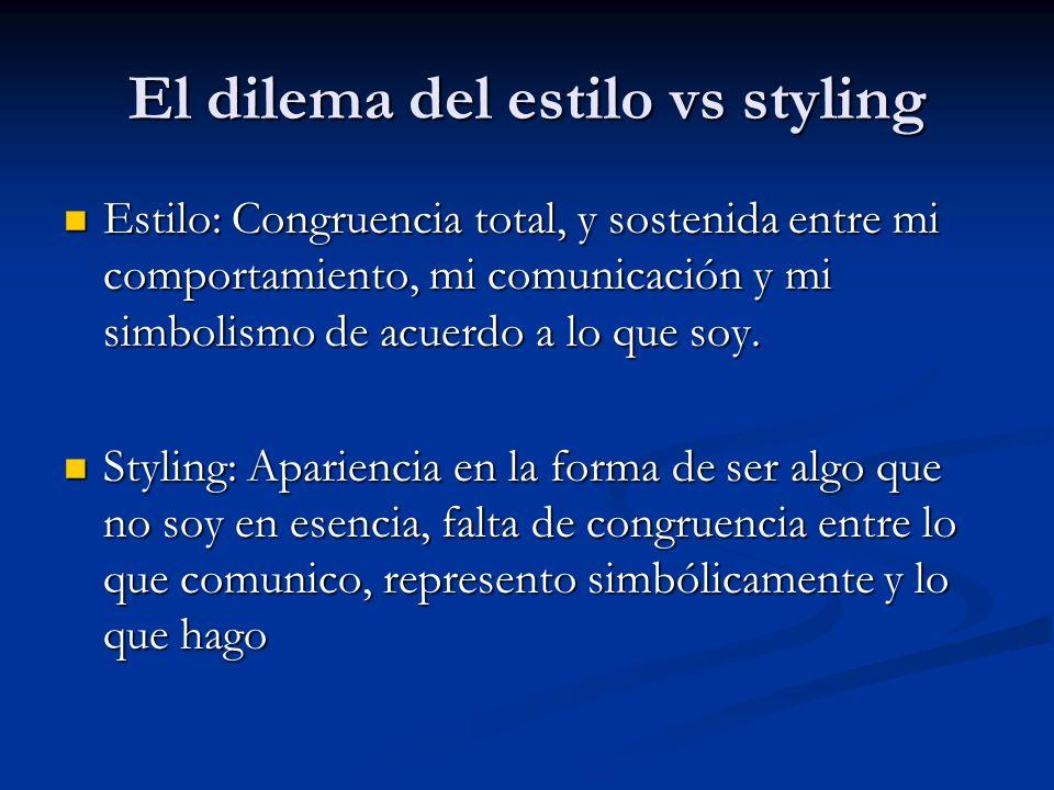 El dilema del estilo vs styling Estilo: Congruencia total, y sostenida entre mi comportamiento, mi comunicación y mi simbolismo de acuerdo a lo que so
