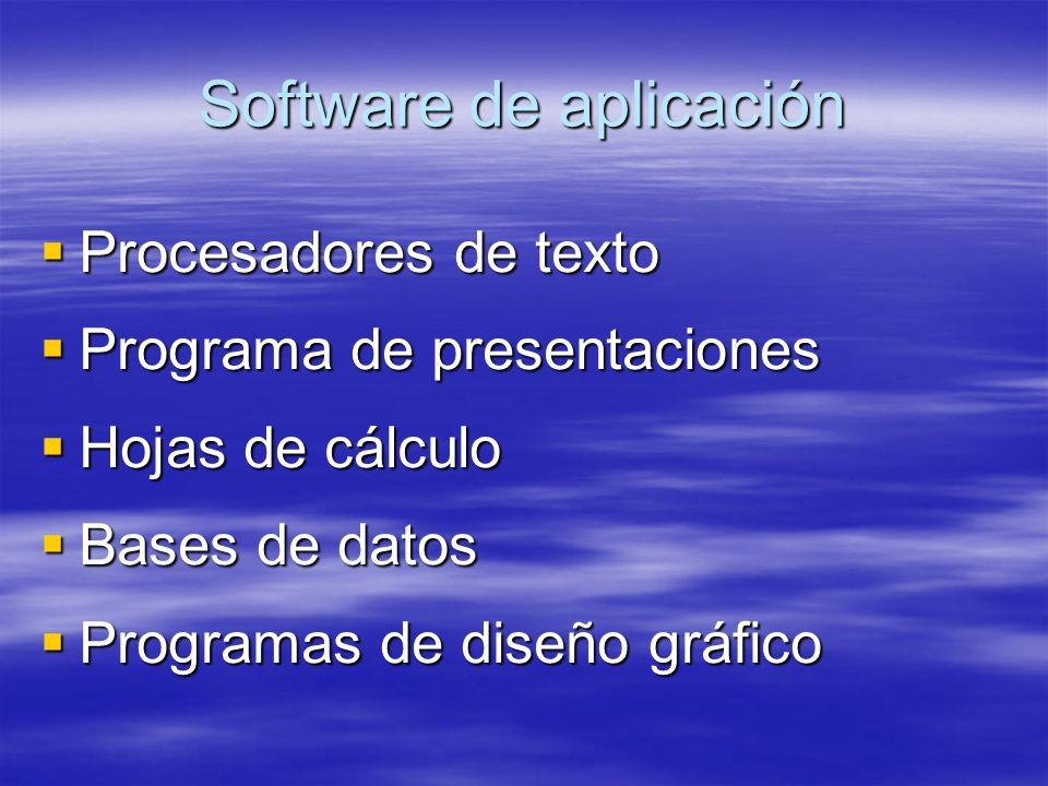 Software de aplicación Procesadores de texto Procesadores de texto Programa de presentaciones Programa de presentaciones Hojas de cálculo Hojas de cálculo Bases de datos Bases de datos Programas de diseño gráfico Programas de diseño gráfico