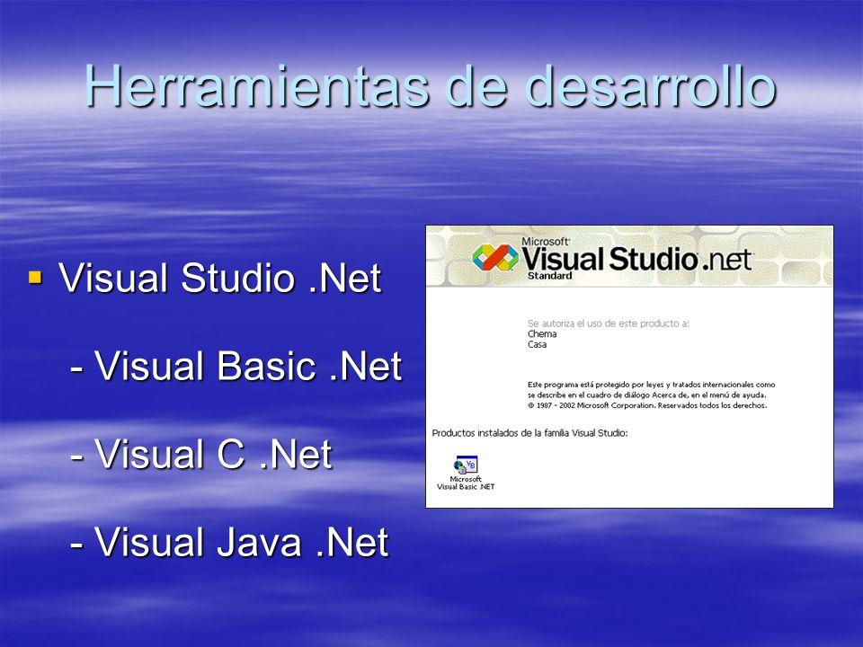 Herramientas de desarrollo Visual Studio.Net - Visual Basic.Net - Visual C.Net - Visual Java.Net Visual Studio.Net - Visual Basic.Net - Visual C.Net - Visual Java.Net