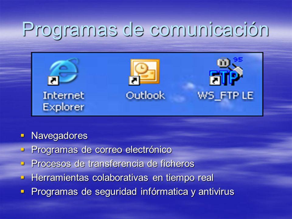 Programas de comunicación Navegadores Navegadores Programas de correo electrónico Programas de correo electrónico Procesos de transferencia de ficheros Procesos de transferencia de ficheros Herramientas colaborativas en tiempo real Herramientas colaborativas en tiempo real Programas de seguridad infórmatica y antivirus Programas de seguridad infórmatica y antivirus
