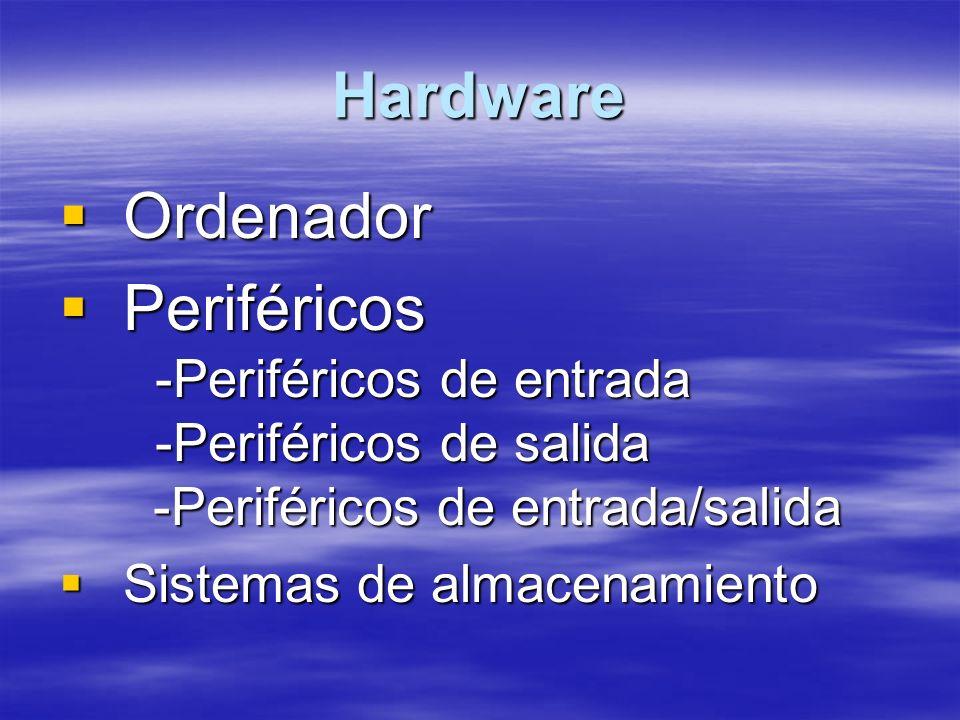 Hardware Ordenador Ordenador Periféricos -Periféricos de entrada -Periféricos de salida -Periféricos de entrada/salida Periféricos -Periféricos de entrada -Periféricos de salida -Periféricos de entrada/salida Sistemas de almacenamiento Sistemas de almacenamiento