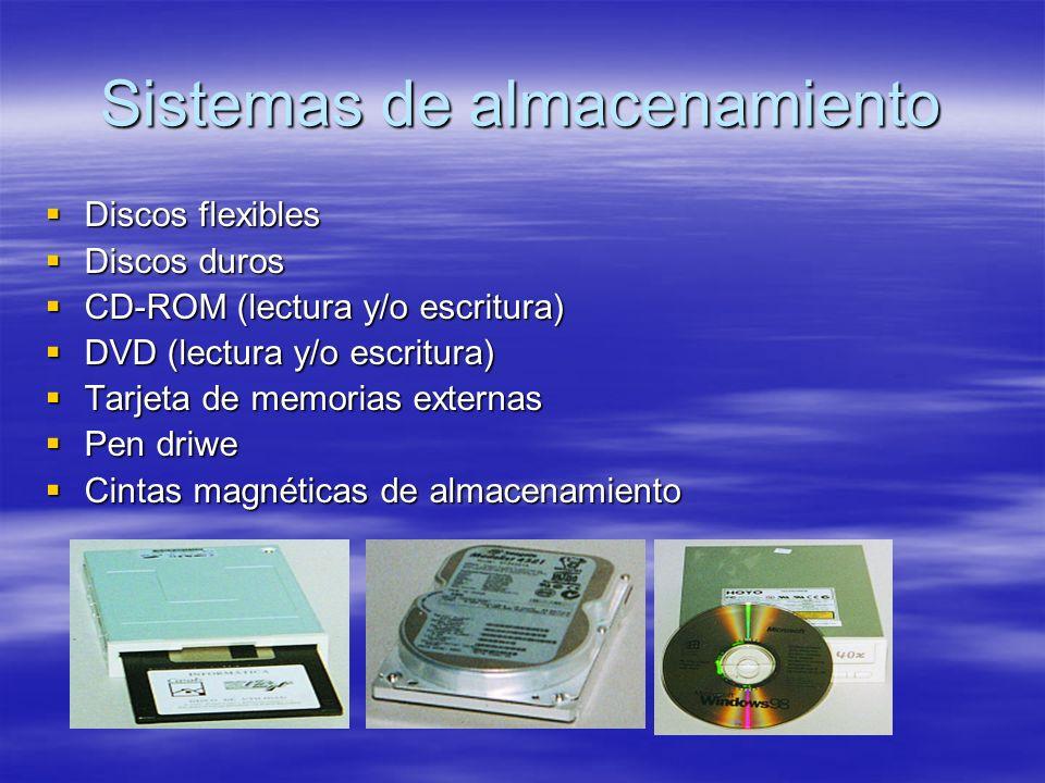 Sistemas de almacenamiento Discos flexibles Discos flexibles Discos duros Discos duros CD-ROM (lectura y/o escritura) CD-ROM (lectura y/o escritura) DVD (lectura y/o escritura) DVD (lectura y/o escritura) Tarjeta de memorias externas Tarjeta de memorias externas Pen driwe Pen driwe Cintas magnéticas de almacenamiento Cintas magnéticas de almacenamiento