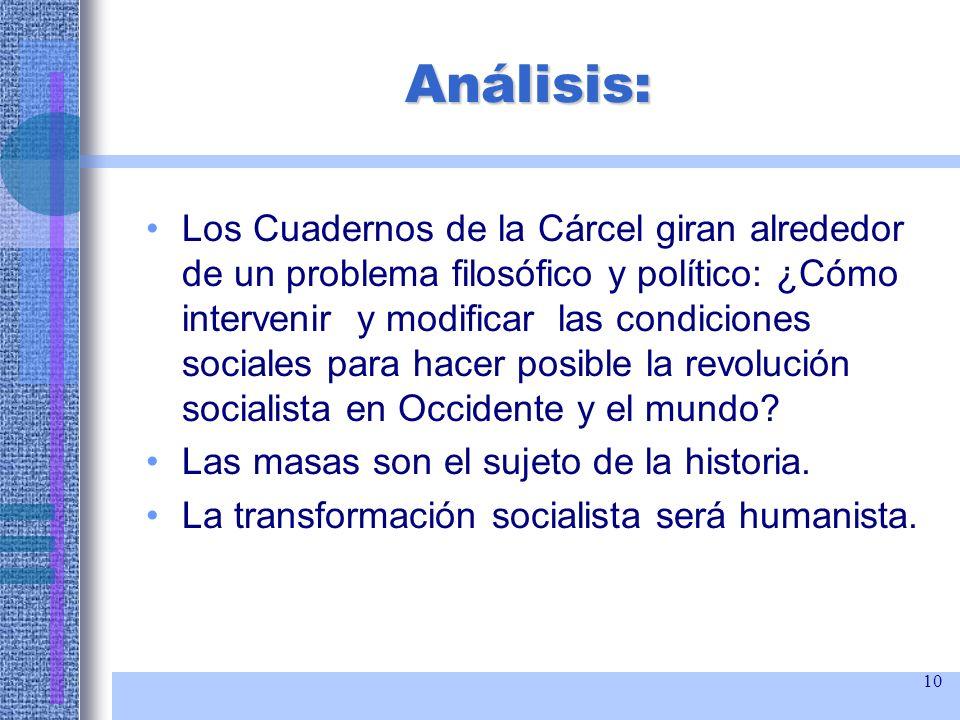 10 Análisis: Los Cuadernos de la Cárcel giran alrededor de un problema filosófico y político: ¿Cómo intervenir y modificar las condiciones sociales pa