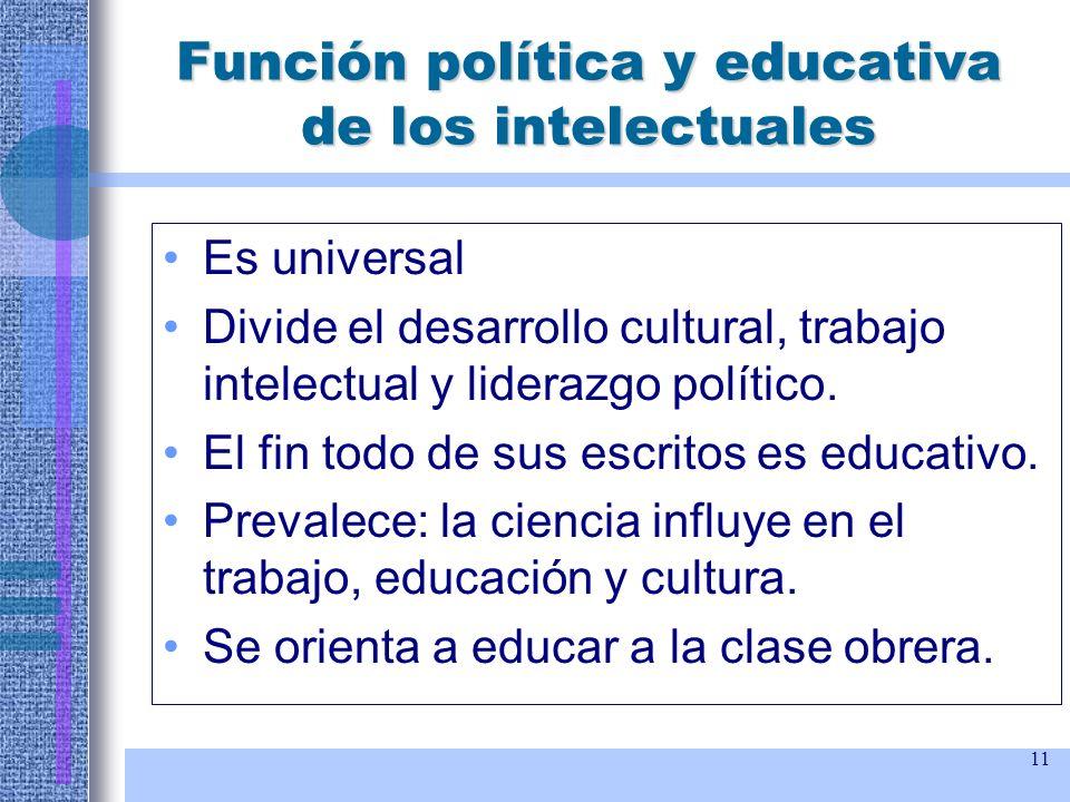 11 Función política y educativa de los intelectuales Es universal Divide el desarrollo cultural, trabajo intelectual y liderazgo político. El fin todo