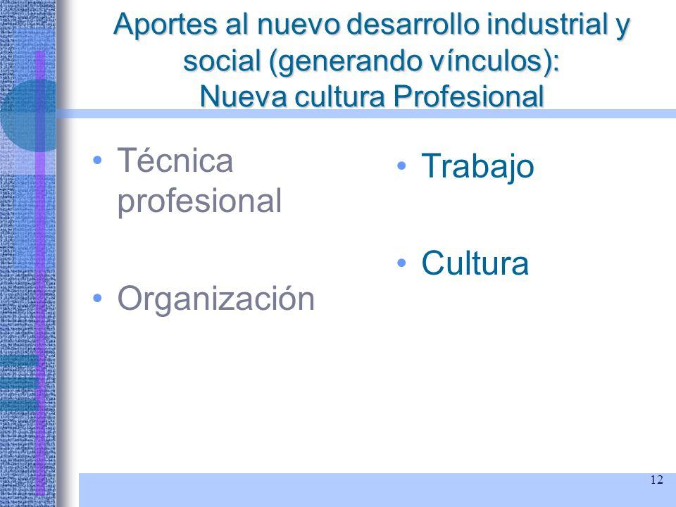 12 Aportes al nuevo desarrollo industrial y social (generando vínculos): Nueva cultura Profesional Técnica profesional Organización Trabajo Cultura