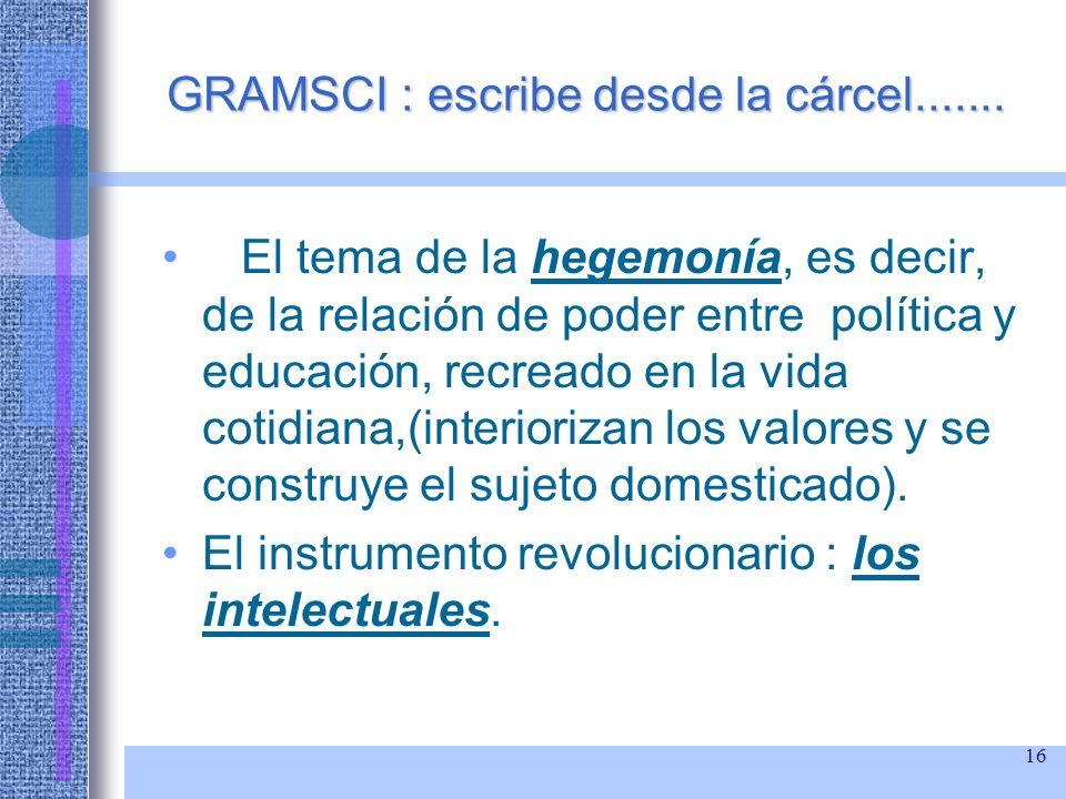16 GRAMSCI : escribe desde la cárcel....... El tema de la hegemonía, es decir, de la relación de poder entre política y educación, recreado en la vida