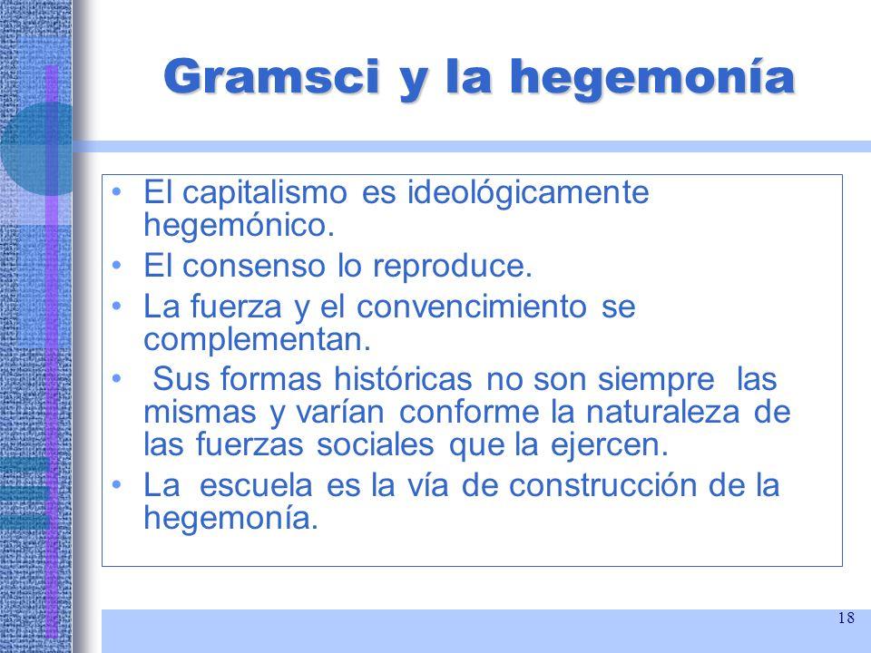 18 Gramsci y la hegemonía El capitalismo es ideológicamente hegemónico. El consenso lo reproduce. La fuerza y el convencimiento se complementan. Sus f