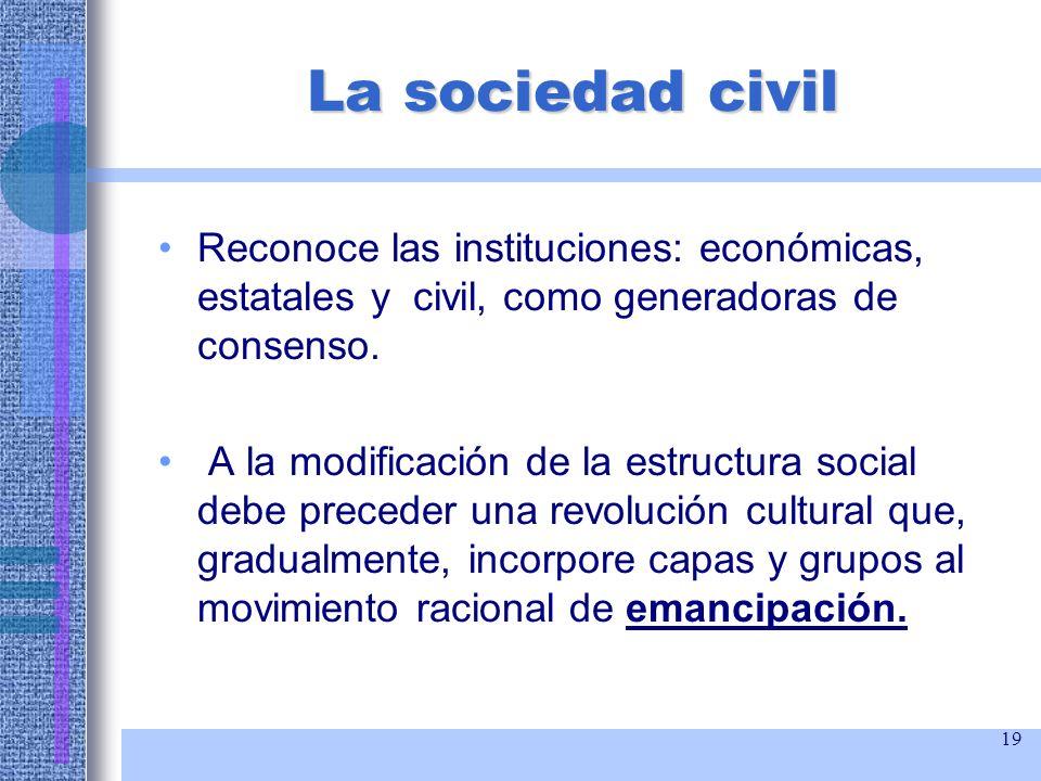 19 La sociedad civil Reconoce las instituciones: económicas, estatales y civil, como generadoras de consenso. A la modificación de la estructura socia