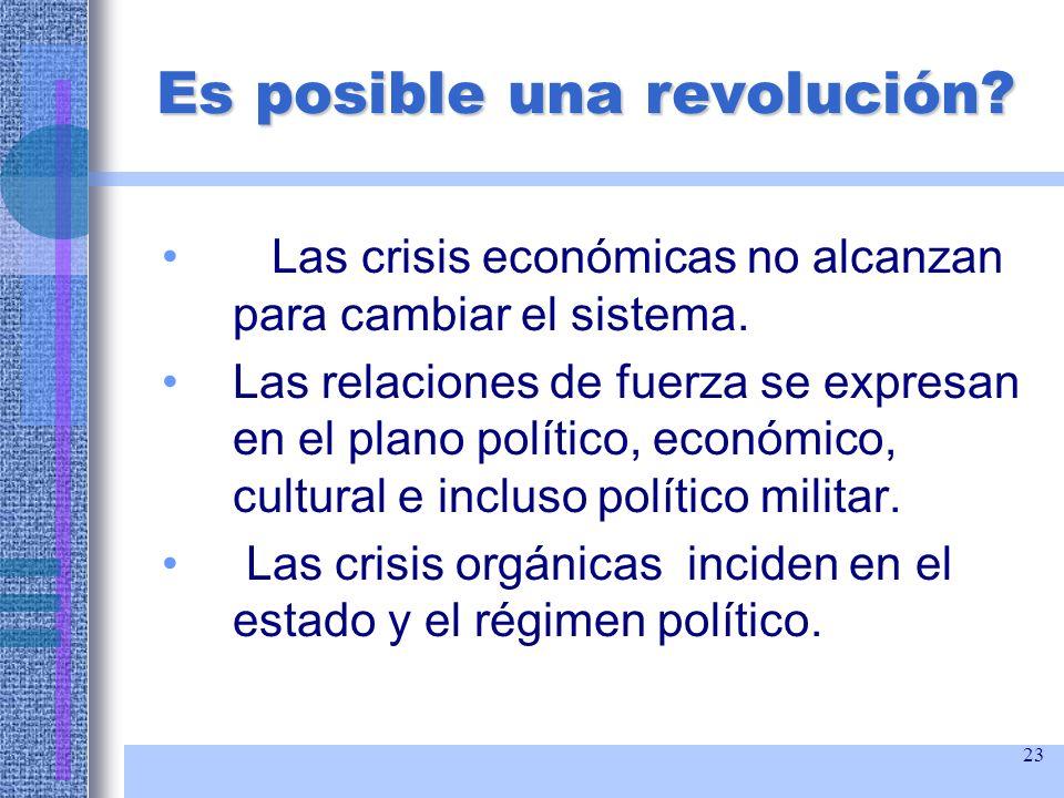 23 Es posible una revolución? Las crisis económicas no alcanzan para cambiar el sistema. Las relaciones de fuerza se expresan en el plano político, ec