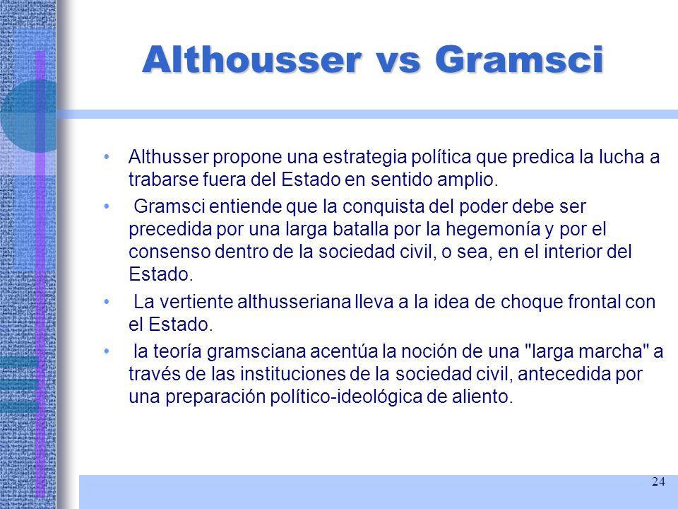 24 Althousser vs Gramsci Althusser propone una estrategia política que predica la lucha a trabarse fuera del Estado en sentido amplio. Gramsci entiend