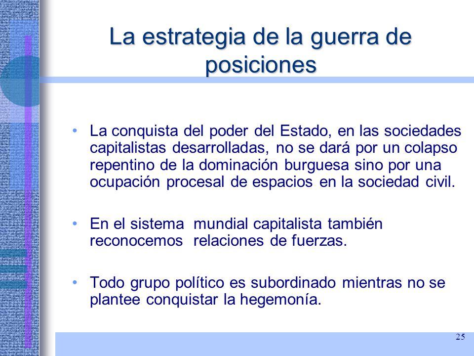 25 La estrategia de la guerra de posiciones La conquista del poder del Estado, en las sociedades capitalistas desarrolladas, no se dará por un colapso