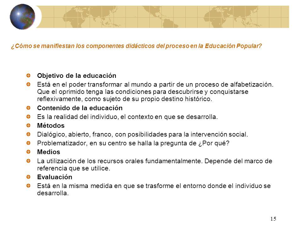 15 ¿Cómo se manifiestan los componentes didácticos del proceso en la Educación Popular? Objetivo de la educación Está en el poder transformar al mundo