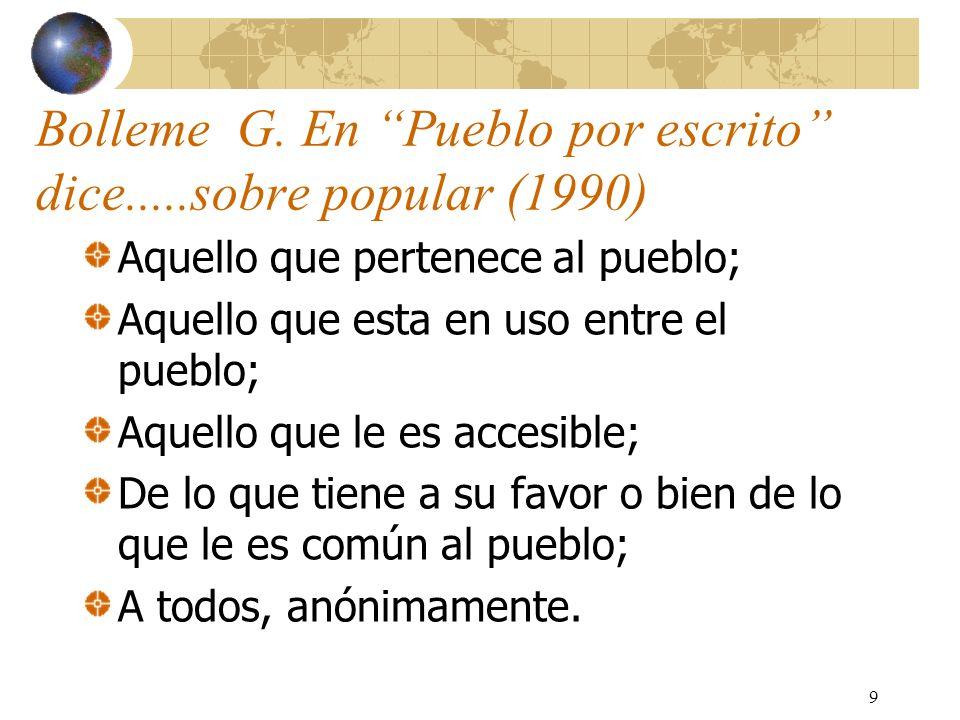 9 Bolleme G. En Pueblo por escrito dice.....sobre popular (1990) Aquello que pertenece al pueblo; Aquello que esta en uso entre el pueblo; Aquello que