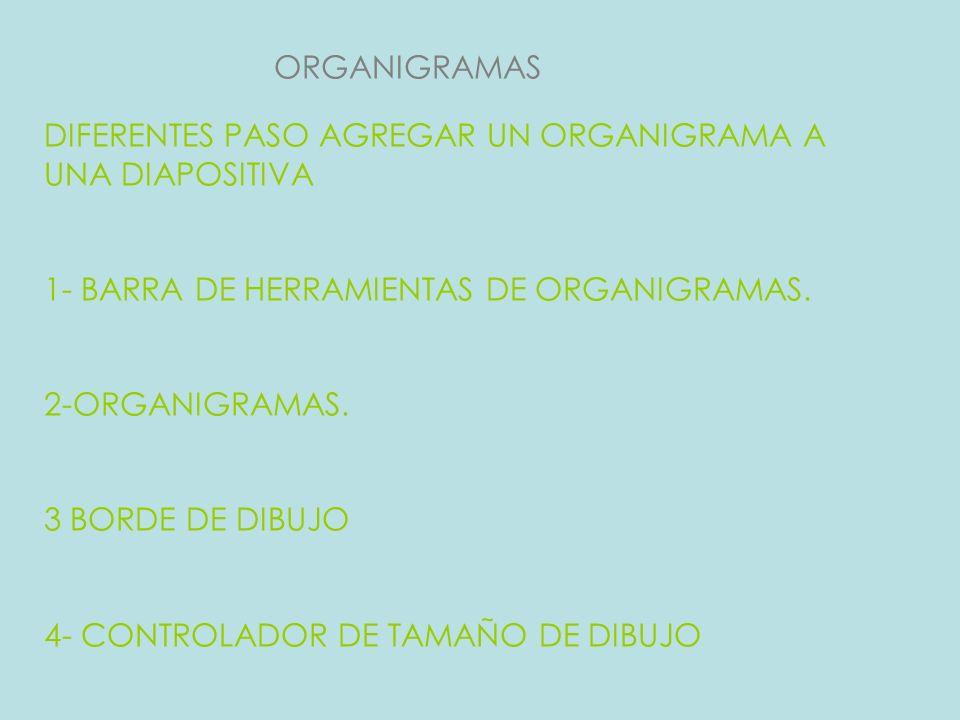 ORGANIGRAMAS DIFERENTES PASO AGREGAR UN ORGANIGRAMA A UNA DIAPOSITIVA 1- BARRA DE HERRAMIENTAS DE ORGANIGRAMAS. 2-ORGANIGRAMAS. 3 BORDE DE DIBUJO 4- C