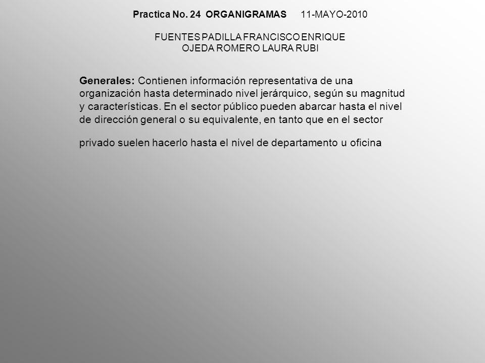 11-MAYO-2010 Específicos: Muestran en forma particular la estructura de un área de la organización