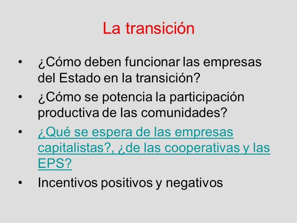 La transición ¿Cómo deben funcionar las empresas del Estado en la transición? ¿Cómo se potencia la participación productiva de las comunidades? ¿Qué s
