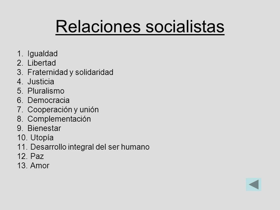 Relaciones socialistas 1.Igualdad 2.Libertad 3.Fraternidad y solidaridad 4.Justicia 5.Pluralismo 6.Democracia 7.Cooperación y unión 8.Complementación