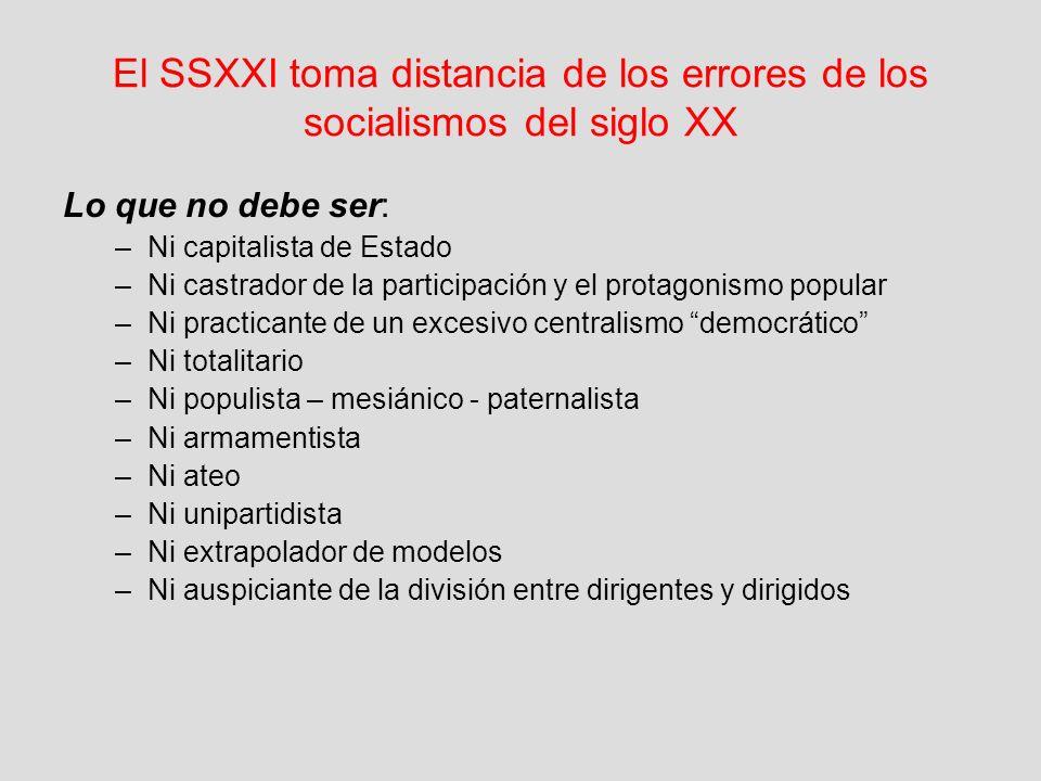 El SSXXI toma distancia de los errores de los socialismos del siglo XX Lo que no debe ser: –Ni capitalista de Estado –Ni castrador de la participación