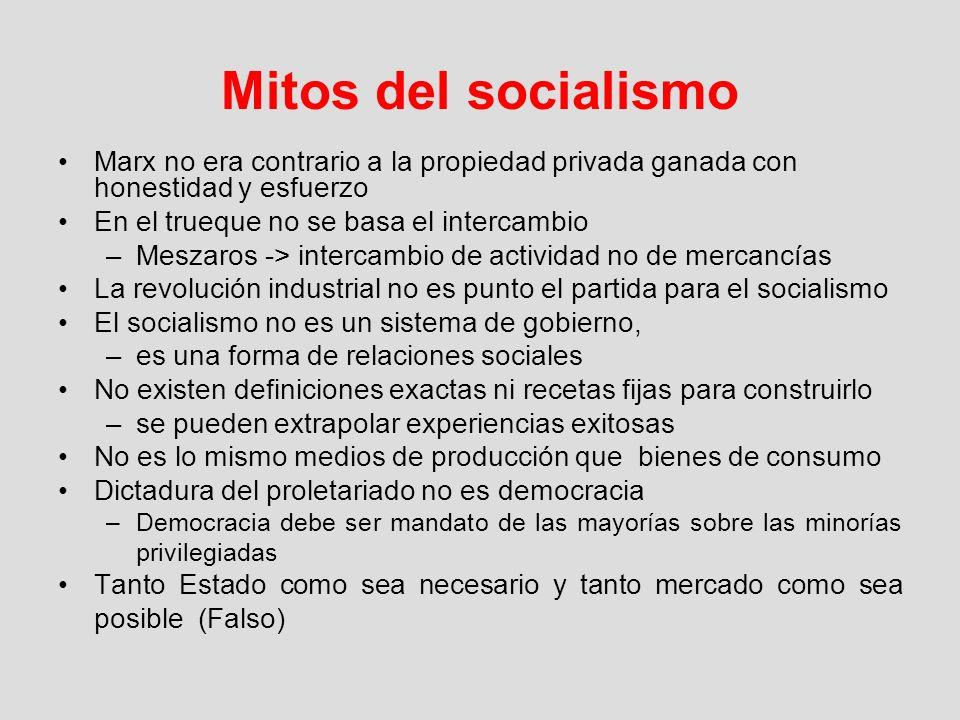 Mitos del socialismo Marx no era contrario a la propiedad privada ganada con honestidad y esfuerzo En el trueque no se basa el intercambio –Meszaros -
