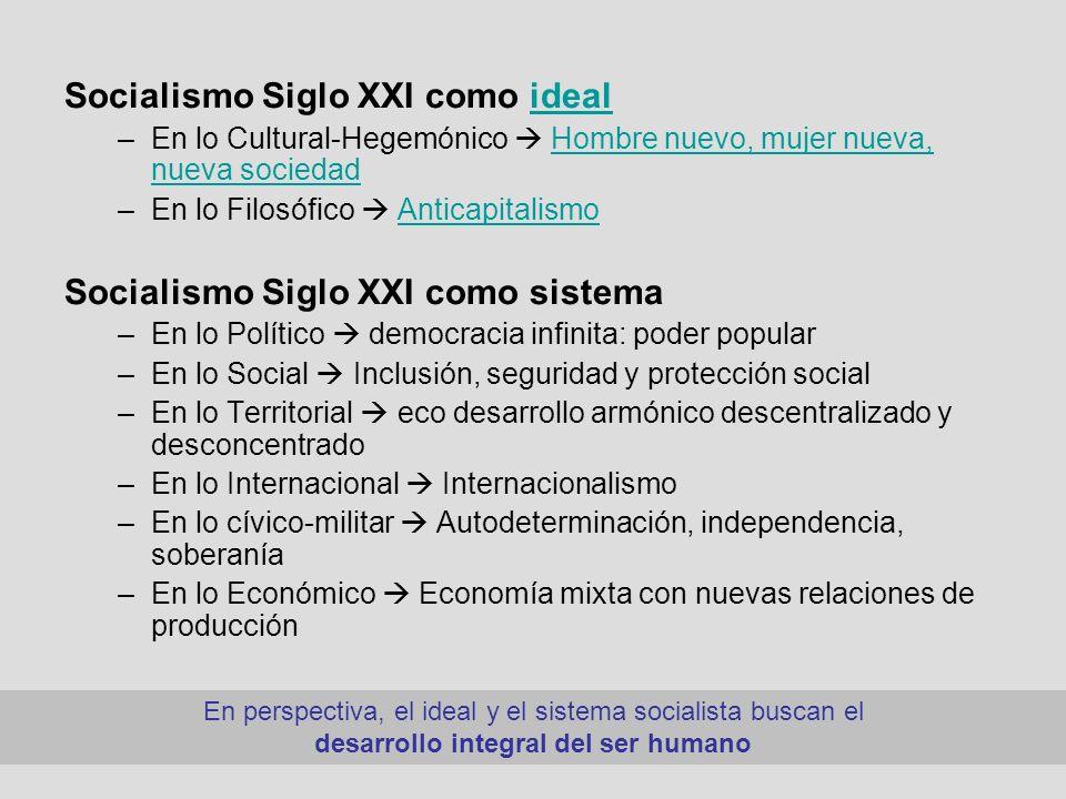 Socialismo Siglo XXI como idealideal –En lo Cultural-Hegemónico Hombre nuevo, mujer nueva, nueva sociedadHombre nuevo, mujer nueva, nueva sociedad –En