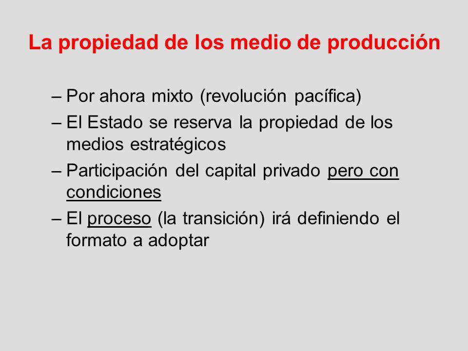 La propiedad de los medio de producción –Por ahora mixto (revolución pacífica) –El Estado se reserva la propiedad de los medios estratégicos –Particip