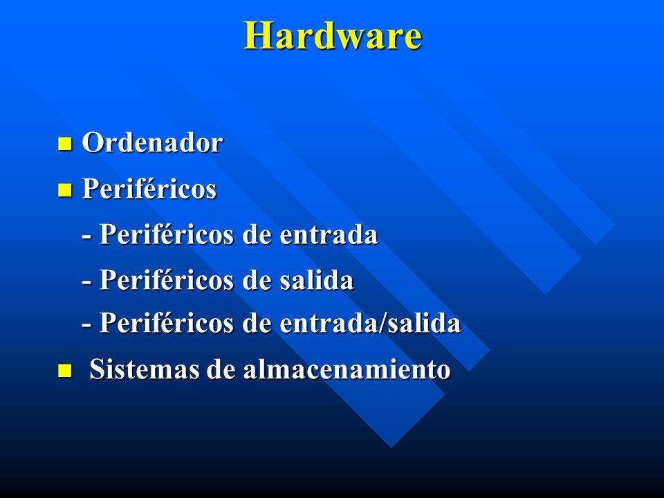 Hardware Ordenador Ordenador Periféricos Periféricos - Periféricos de entrada - Periféricos de salida - Periféricos de entrada/salida Sistemas de alma