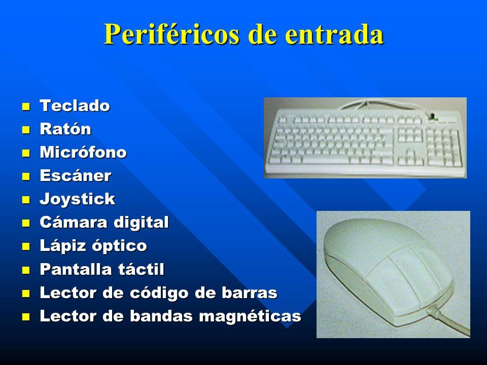 Periféricos de entrada Teclado Teclado Ratón Ratón Micrófono Micrófono Escáner Escáner Joystick Joystick Cámara digital Cámara digital Lápiz óptico Lá