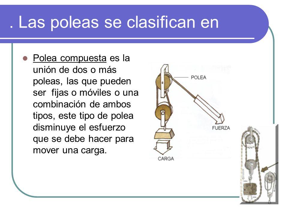 . Las poleas se clasifican en Polea compuesta es la unión de dos o más poleas, las que pueden ser fijas o móviles o una combinación de ambos tipos, es