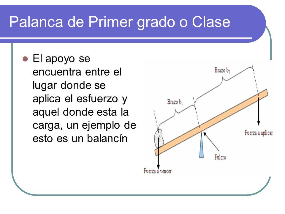 Palanca de Primer grado o Clase El apoyo se encuentra entre el lugar donde se aplica el esfuerzo y aquel donde esta la carga, un ejemplo de esto es un