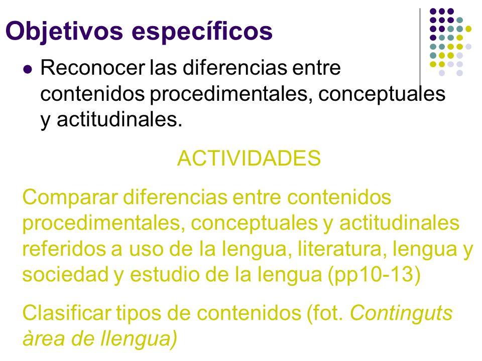 Objetivos específicos Reconocer las diferencias entre contenidos procedimentales, conceptuales y actitudinales. ACTIVIDADES Comparar diferencias entre