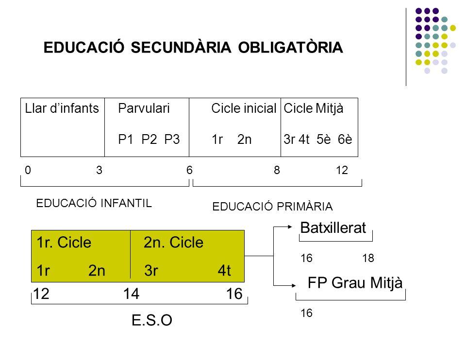 EDUCACIÓ SECUNDÀRIA OBLIGATÒRIA Llar dinfantsParvulariCicle inicial Cicle Mitjà P1 P2 P31r 2n 3r 4t 5è 6è 0 3 6 8 12 EDUCACIÓ INFANTIL EDUCACIÓ PRIMÀR