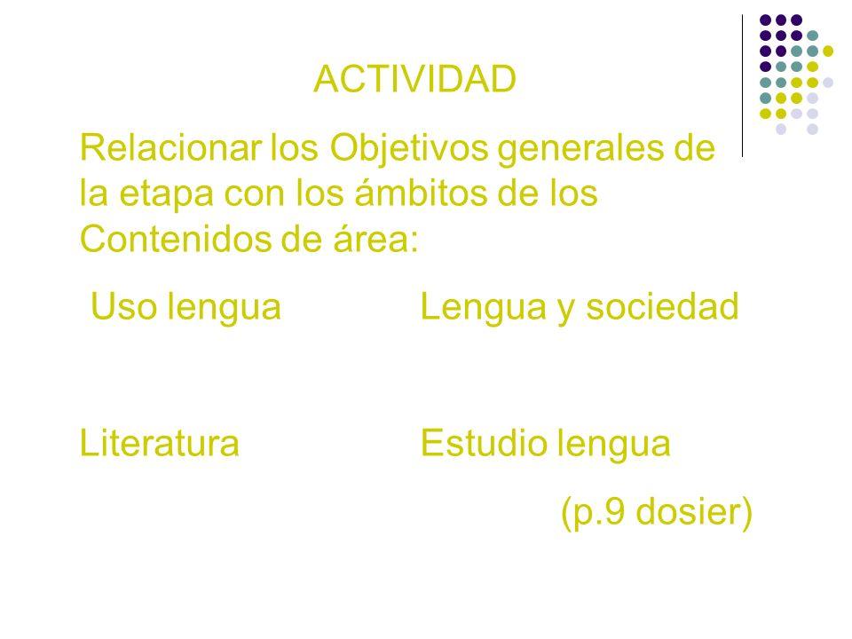 ACTIVIDAD Relacionar los Objetivos generales de la etapa con los ámbitos de los Contenidos de área: Uso lenguaLengua y sociedad LiteraturaEstudio leng