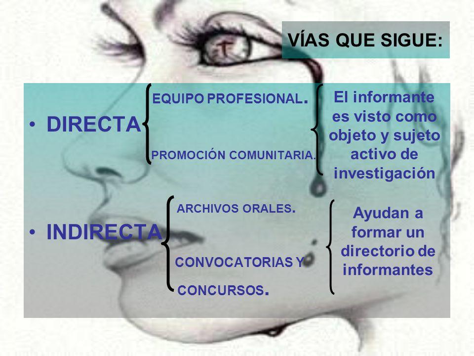 VÍAS QUE SIGUE: EQUIPO PROFESIONAL. DIRECTA PROMOCIÓN COMUNITARIA. ARCHIVOS ORALES. INDIRECTA CONVOCATORIAS Y CONCURSOS. El informante es visto como o