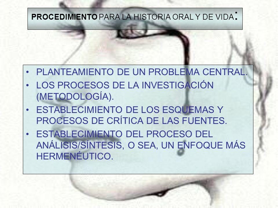 PROCEDIMIENTO PARA LA HISTORIA ORAL Y DE VIDA : PLANTEAMIENTO DE UN PROBLEMA CENTRAL. LOS PROCESOS DE LA INVESTIGACIÓN (METODOLOGÍA). ESTABLECIMIENTO