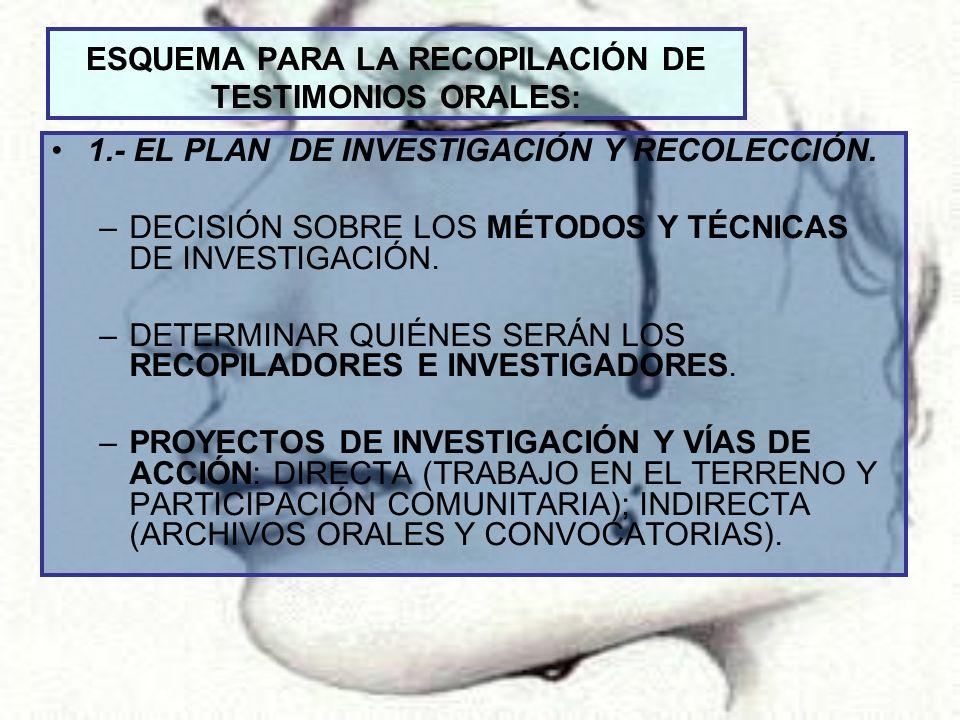 ESQUEMA PARA LA RECOPILACIÓN DE TESTIMONIOS ORALES: 1.- EL PLAN DE INVESTIGACIÓN Y RECOLECCIÓN. –DECISIÓN SOBRE LOS MÉTODOS Y TÉCNICAS DE INVESTIGACIÓ