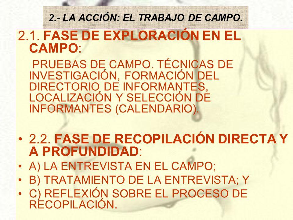 2.- LA ACCIÓN: EL TRABAJO DE CAMPO. 2.1. FASE DE EXPLORACIÓN EN EL CAMPO: PRUEBAS DE CAMPO. TÉCNICAS DE INVESTIGACIÓN, FORMACIÓN DEL DIRECTORIO DE INF
