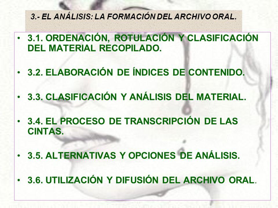 3.- EL ANÁLISIS: LA FORMACIÓN DEL ARCHIVO ORAL. 3.1. ORDENACIÓN, ROTULACIÓN Y CLASIFICACIÓN DEL MATERIAL RECOPILADO. 3.2. ELABORACIÓN DE ÍNDICES DE CO