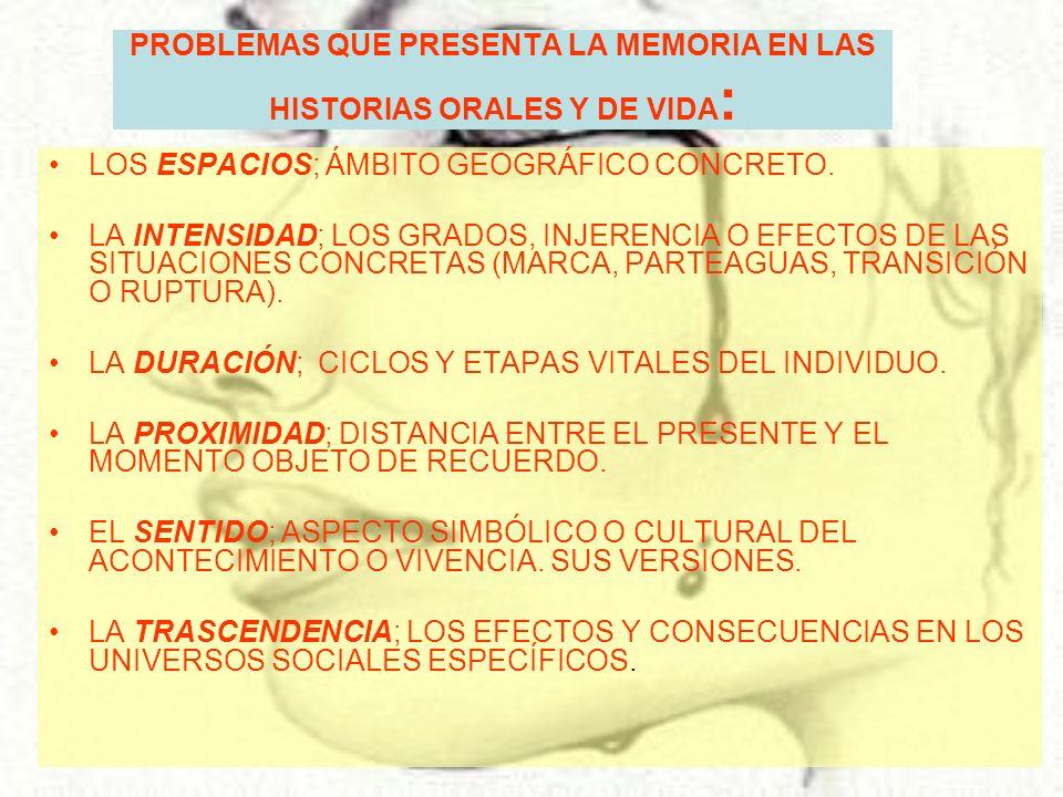 PROBLEMAS QUE PRESENTA LA MEMORIA EN LAS HISTORIAS ORALES Y DE VIDA : LOS ESPACIOS; ÁMBITO GEOGRÁFICO CONCRETO. LA INTENSIDAD; LOS GRADOS, INJERENCIA