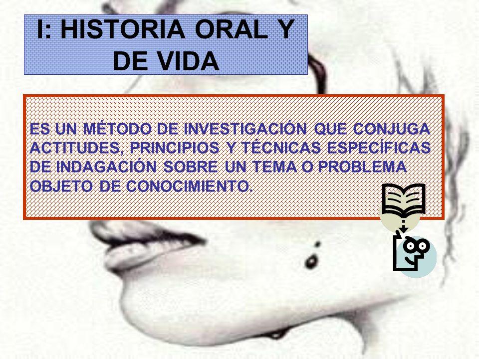 I: HISTORIA ORAL Y DE VIDA ES UN MÉTODO DE INVESTIGACIÓN QUE CONJUGA ACTITUDES, PRINCIPIOS Y TÉCNICAS ESPECÍFICAS DE INDAGACIÓN SOBRE UN TEMA O PROBLE