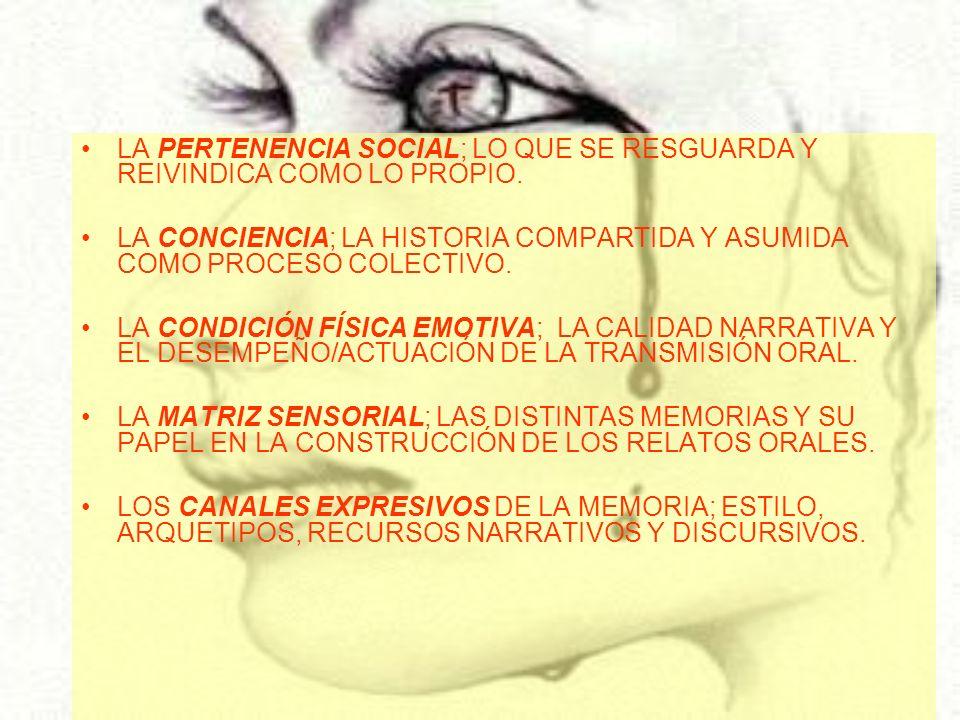 LA PERTENENCIA SOCIAL; LO QUE SE RESGUARDA Y REIVINDICA COMO LO PROPIO. LA CONCIENCIA; LA HISTORIA COMPARTIDA Y ASUMIDA COMO PROCESO COLECTIVO. LA CON