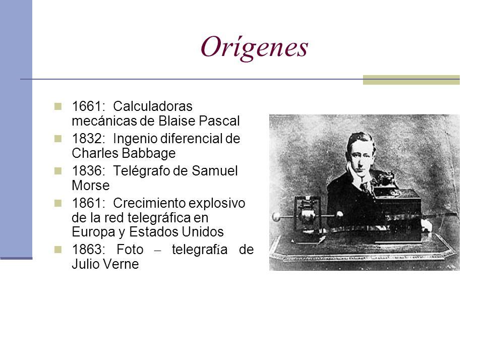 Orígenes 1661: Calculadoras mecánicas de Blaise Pascal 1832: Ingenio diferencial de Charles Babbage 1836: Telégrafo de Samuel Morse 1861: Crecimiento