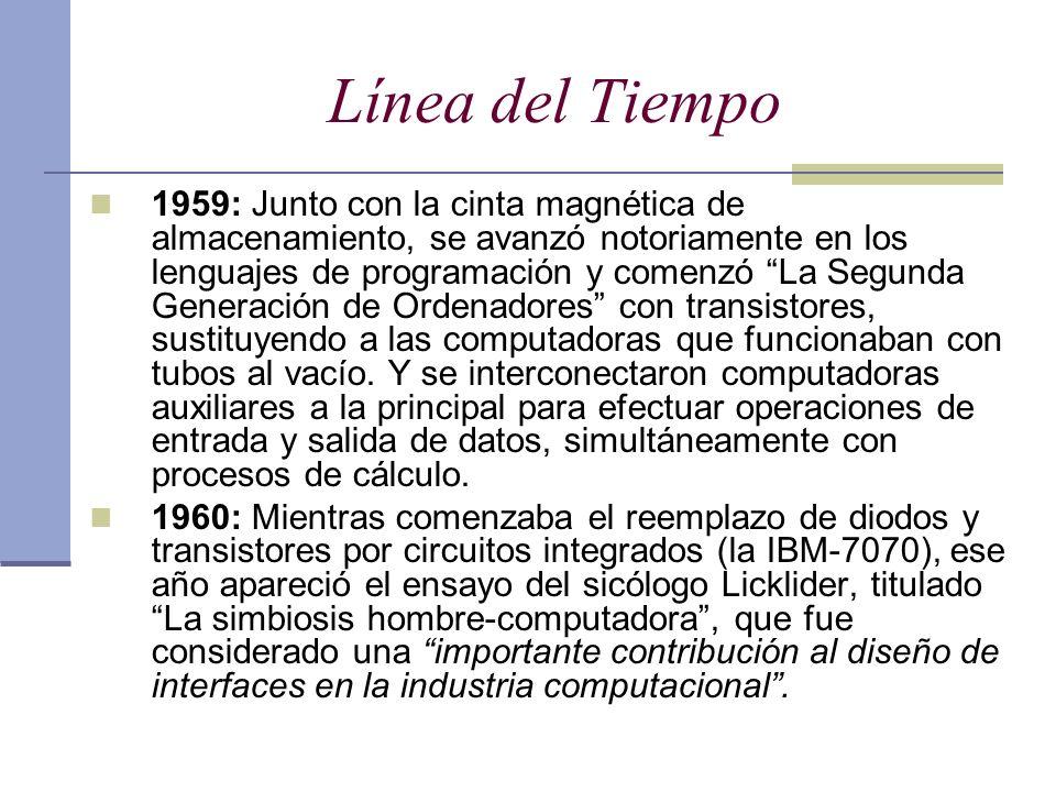 Línea del Tiempo 1959: Junto con la cinta magnética de almacenamiento, se avanzó notoriamente en los lenguajes de programación y comenzó La Segunda Ge
