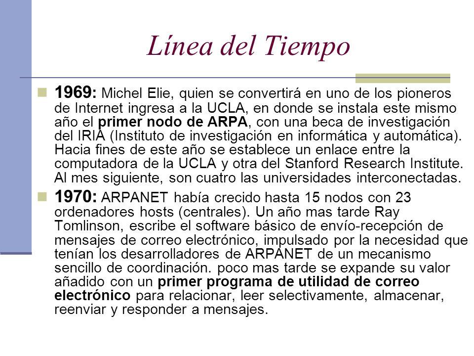 Línea del Tiempo 1969 : Michel Elie, quien se convertirá en uno de los pioneros de Internet ingresa a la UCLA, en donde se instala este mismo año el p
