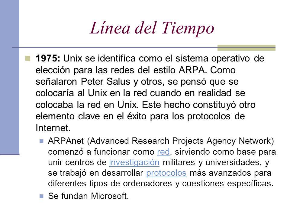 Línea del Tiempo 1975: Unix se identifica como el sistema operativo de elección para las redes del estilo ARPA. Como señalaron Peter Salus y otros, se
