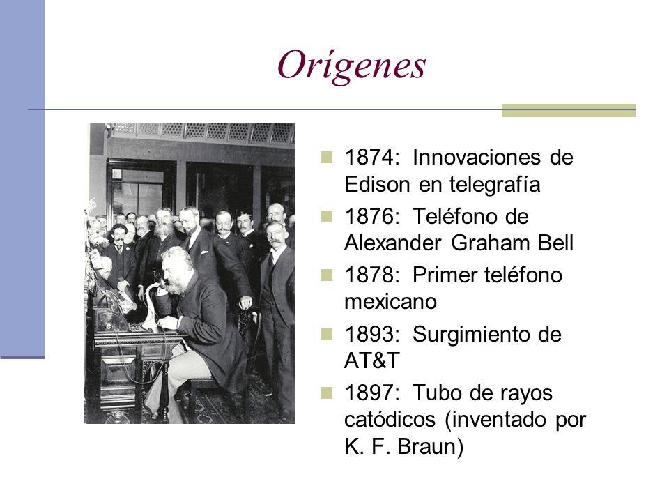 Orígenes 1874: Innovaciones de Edison en telegrafía 1876: Teléfono de Alexander Graham Bell 1878: Primer teléfono mexicano 1893: Surgimiento de AT&T 1