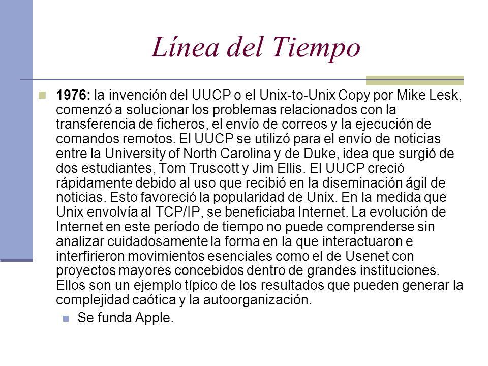 Línea del Tiempo 1976: la invención del UUCP o el Unix-to-Unix Copy por Mike Lesk, comenzó a solucionar los problemas relacionados con la transferenci
